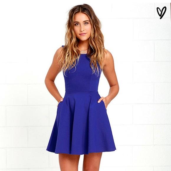 d60961735f Lulu s Wanderlust Royal Blue Skater Dress